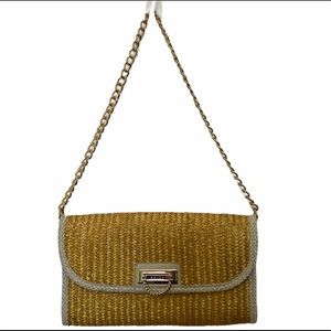 Reiss gold chain strap shoulder bag woven straw
